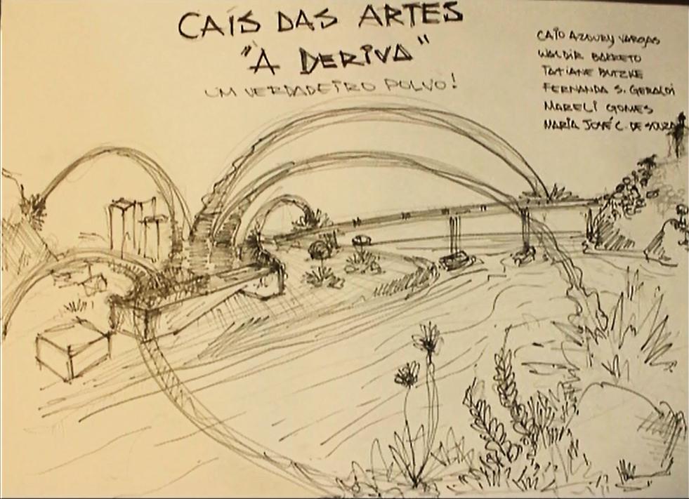Group response exploring possible ideas and futures for Cais das Artes. Still from the vídeo documentary Cais das Artes – Um maciço eco poético, by artist Ivo Godoy. Made by: State of Espírito Santo & FGV Projetos