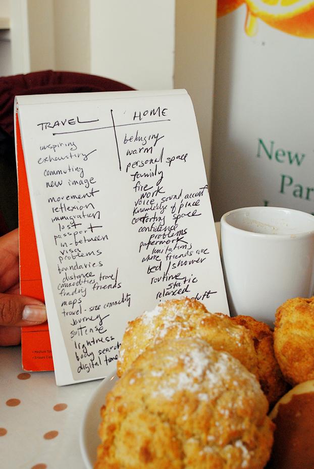"""Exercício de brainstorm associado as palavras """"viajar"""" e """"lar"""" - em Huntly, Escócia"""